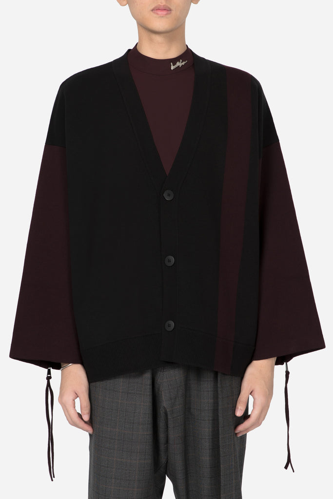 Coli Knit Zip Cardigan Dry Onyx + Merlot Red