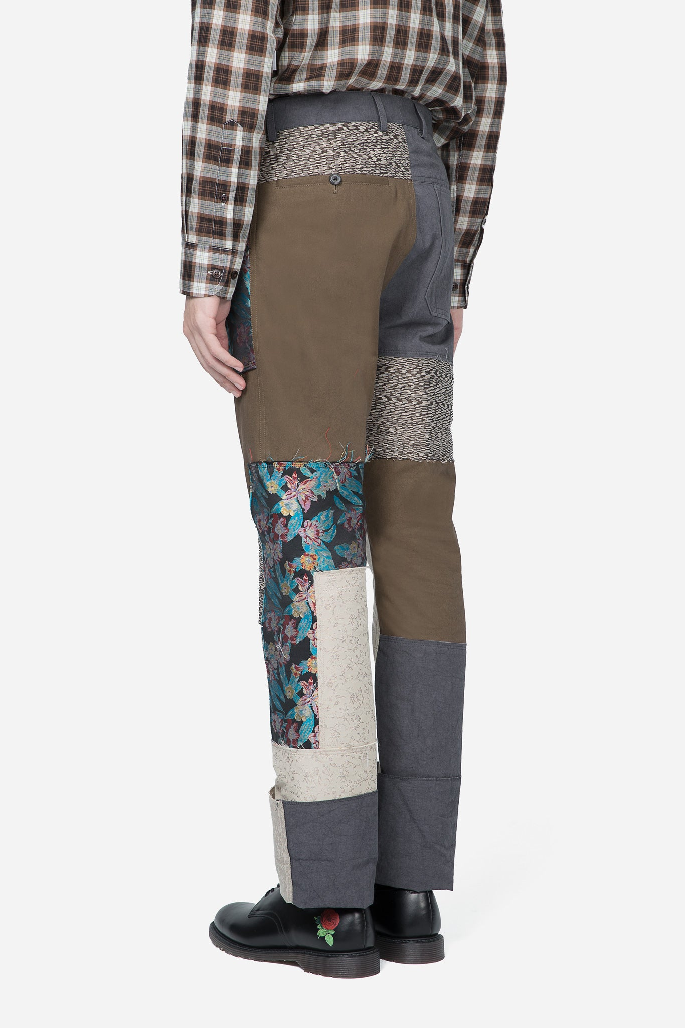 Fitted 5 Pockets Pants Patchwork