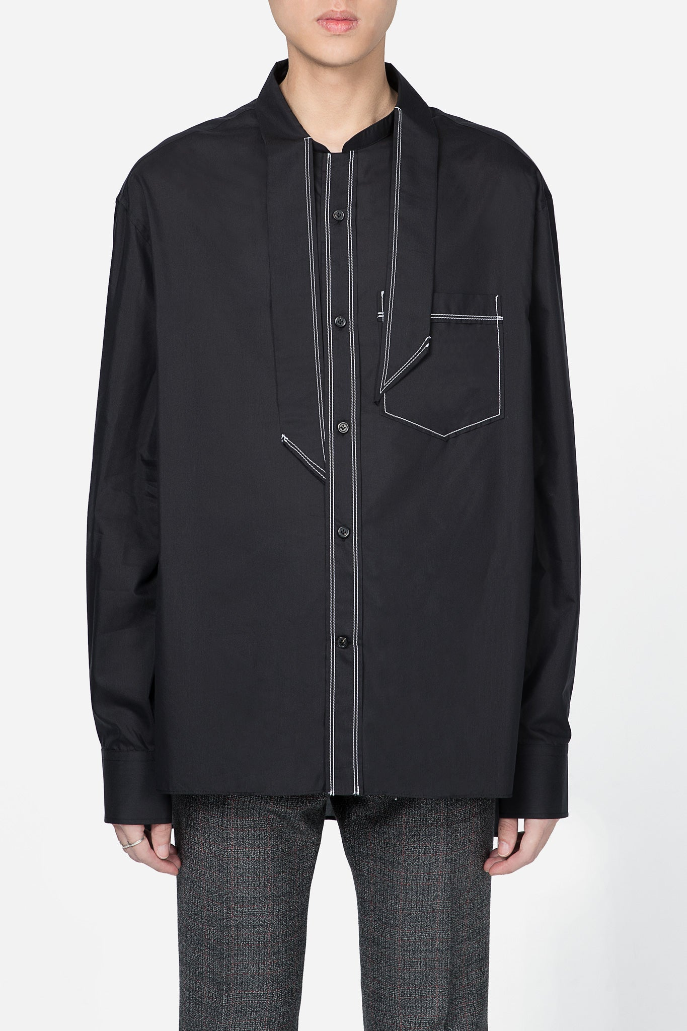 Shirt Scarf Topstitched Shirt Black