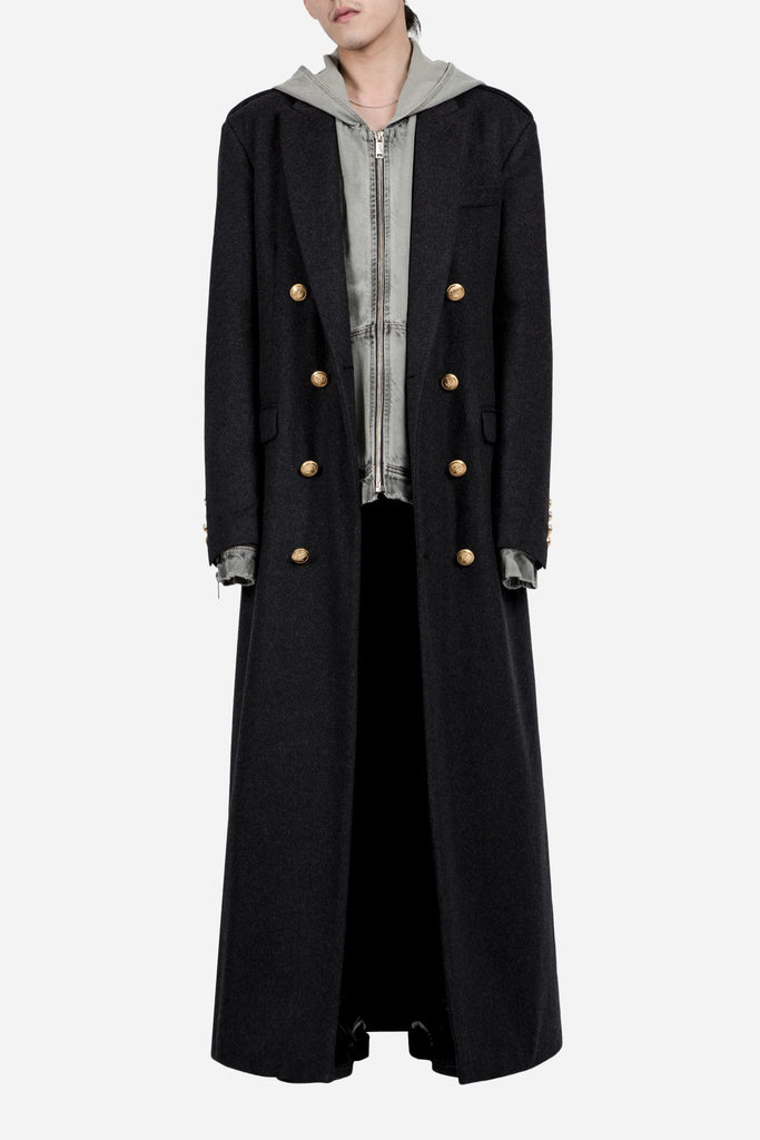 Double Breasted Long Coat Black