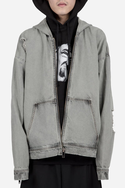 424 - LIGHT INDIGO DENIM DISTRESSED OVERSIZED HOODIE BLACK OVER-DYE