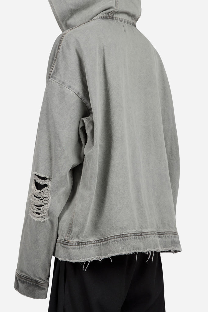 LIGHT INDIGO DENIM DISTRESSED OVERSIZED HOODIE BLACK OVER-DYE