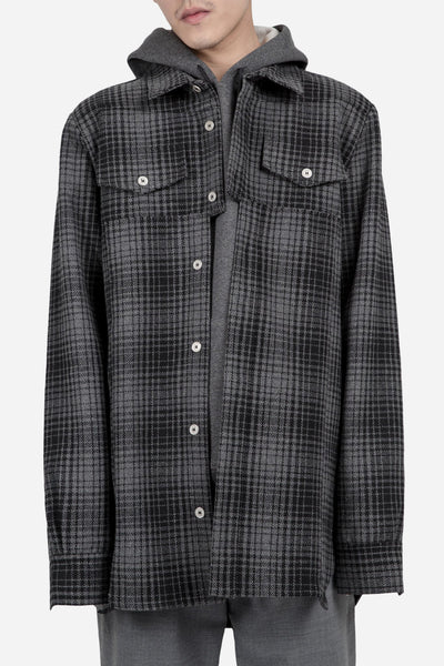 Off-White - Flannel Shirt With Panel Grey