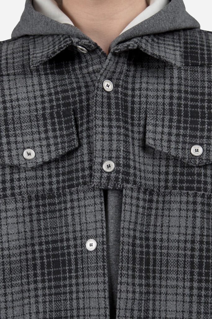 Flannel Shirt With Panel Grey