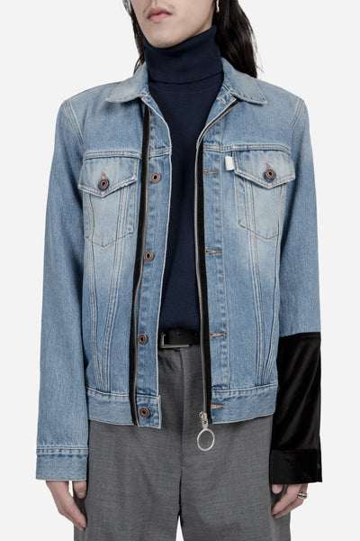 Off-White - Patched Denim Jacket Stone Wash