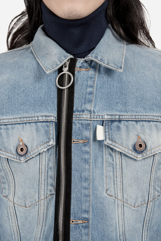 Patched Denim Jacket Stone Wash