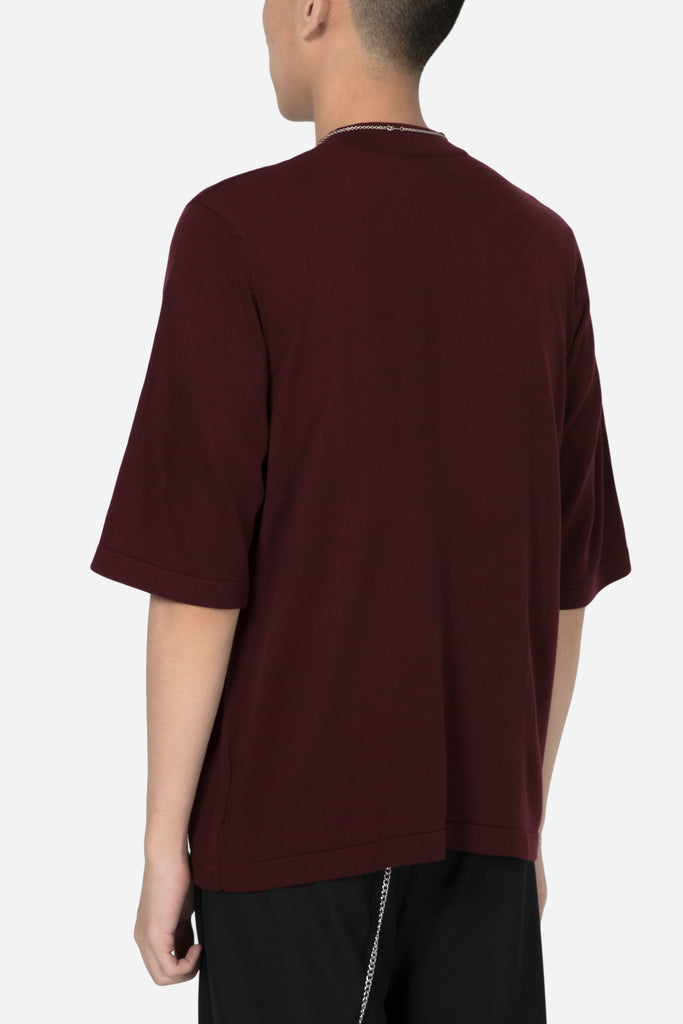 BDU Uniform Mock Knit Tee Merlot Red