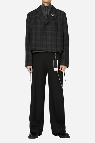 Harvey Leisure Biker Jacket Black Subtle Check