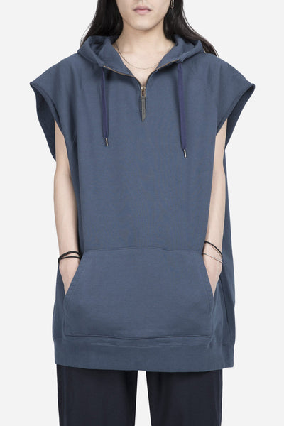 robert geller - The Cut Sleeve Zipper Hoodie Blue