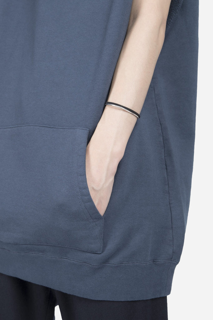 The Cut Sleeve Zipper Hoodie Blue
