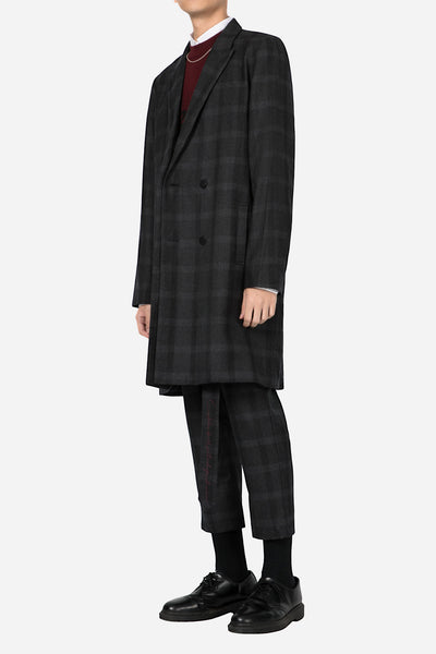 Polar Strap Double Breast Coat Black Subtle Check