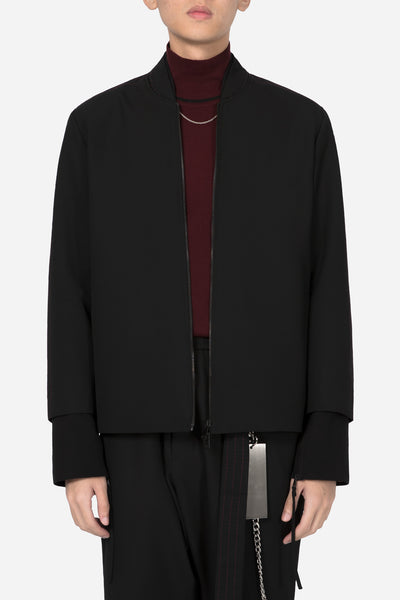 Banks Drain Us - Fort Oversized Panel Bomber Dry Onyx / Dry Onyx Blood Red Stitches