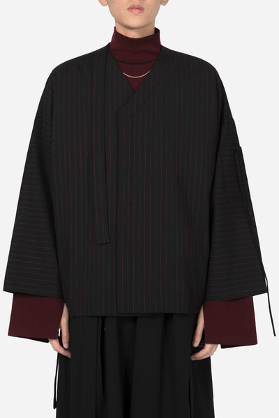 Banks Drain Us - Coli Bomber Cardigan Dry Onyx Blood Red Stitches