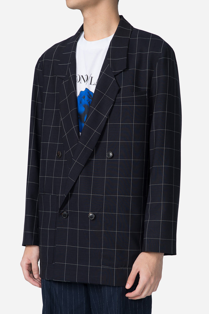 Double Breasted Blazer B/W Check
