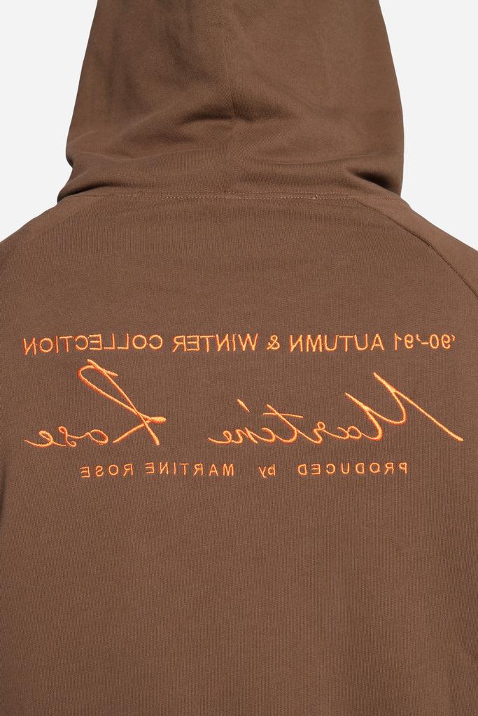 Classic Embroidered Hoodie Brown/Orange