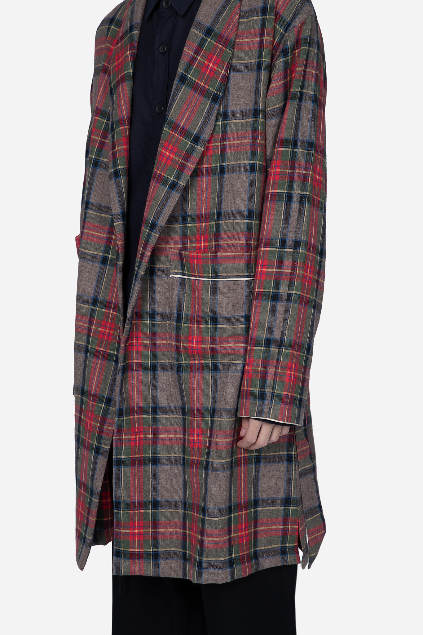 Wool Robe-Brown Plaid