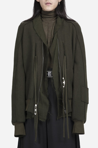 damir doma - Johnson Scarf Detail Bomber Dark Moss