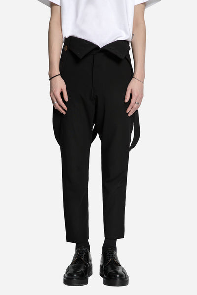 Song for the mute - Pleated Tapered Pant with Self Suspenders Black