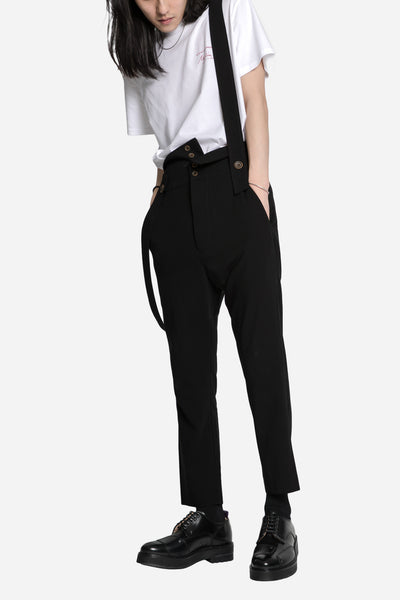 Pleated Tapered Pant with Self Suspenders Black