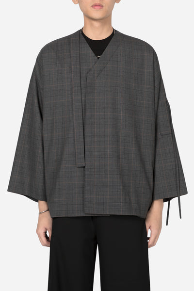 Banks Drain Us - Coli Bomber Cardigan Grey Gold Check