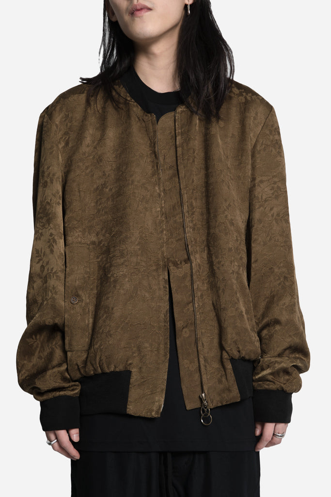 Antique Floral Oversized Rib Bomber Khaki