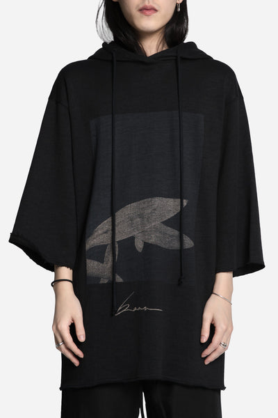 Song for the mute - 'Beau' Print Quarter Sleeve Hooded Jumper Black