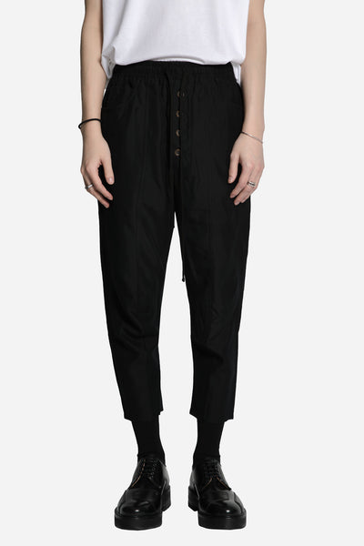Song for the mute - Paneled Track Pant with Exposed Button Black