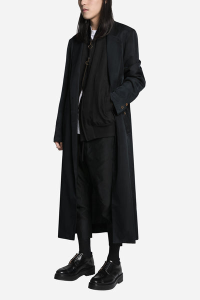Paneled Track Pant with Exposed Button Black