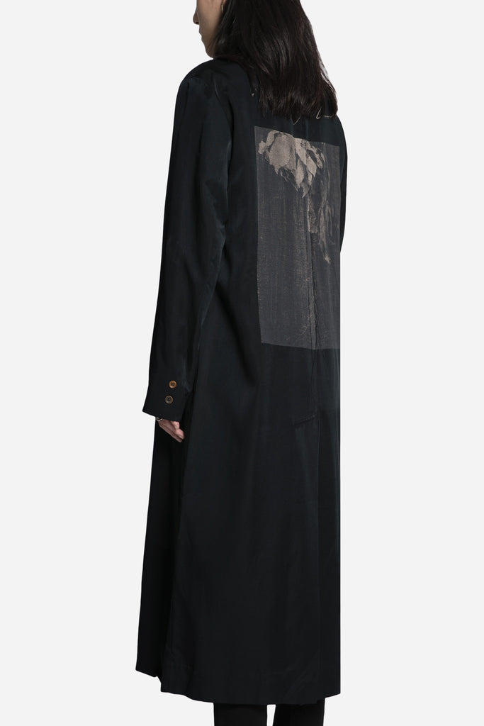 'Lover' Print Single Breasted Long Coat Black