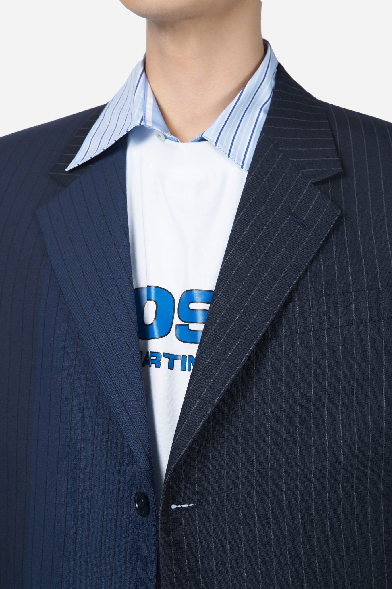 Pinstripe Suit Jacket Navy