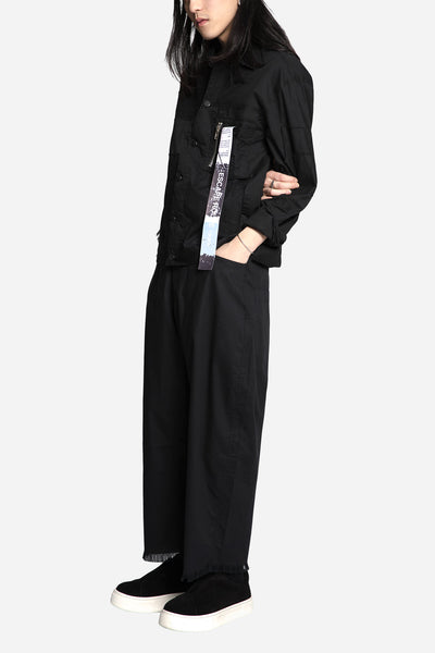 Plan C Taylored Oversized Pant Black Pinstripe