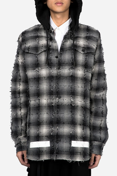 Off-White - Diag White Check Shirt+Hood All Over White