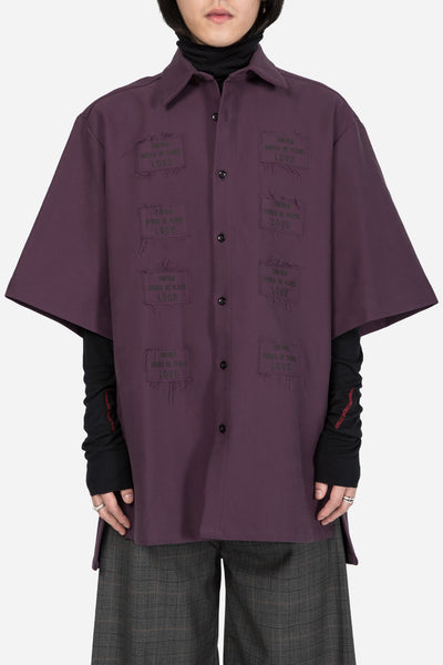 Yang Li - Short Sleeve Oversized Shirt Dark Purple