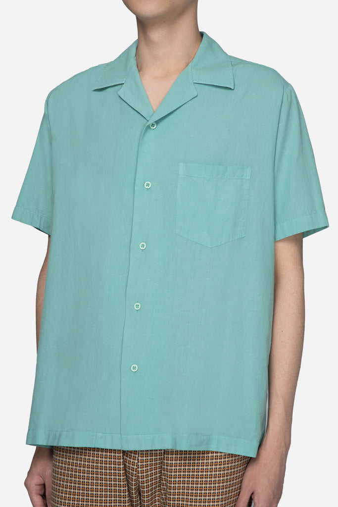 Open Collar Short Sleeve Shirt Mint Green