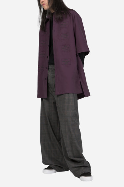 Short Sleeve Oversized Shirt Dark Purple