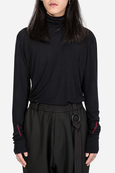 Yang Li - Turtleneck Longsleeve T-Shirt Black