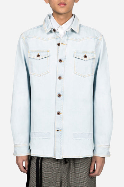 Off-White - Diag Raw Cut Denim Shirt Bleach No Color