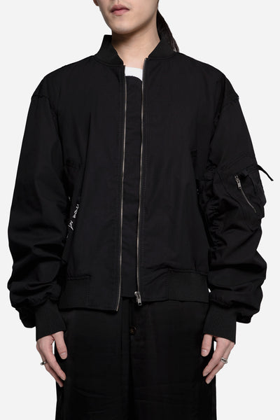Damir Doma - Jon Crispy Cotton Oversized Bomber Jacket Coal