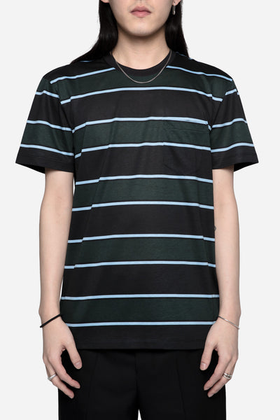 AMI - Stripes Crew Neck Tee Black/Green