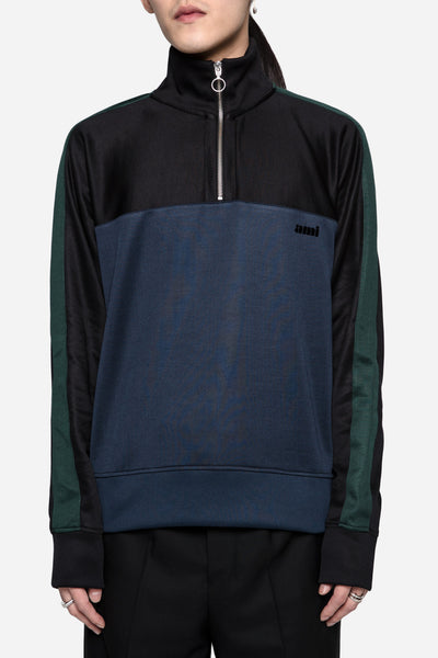 AMI - Half Zipped Sweatshirt Black/Navy