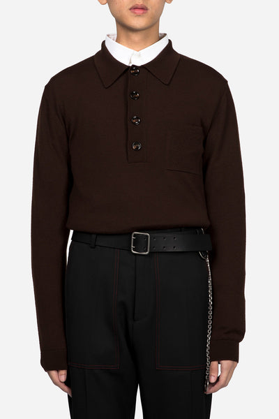 CMMN SWDN - Knitted Polo Jumper Brown