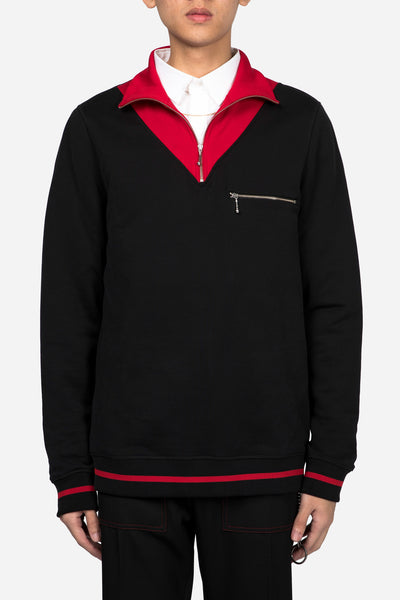 CMMN SWDN - Zip Sweashirt Black/Red