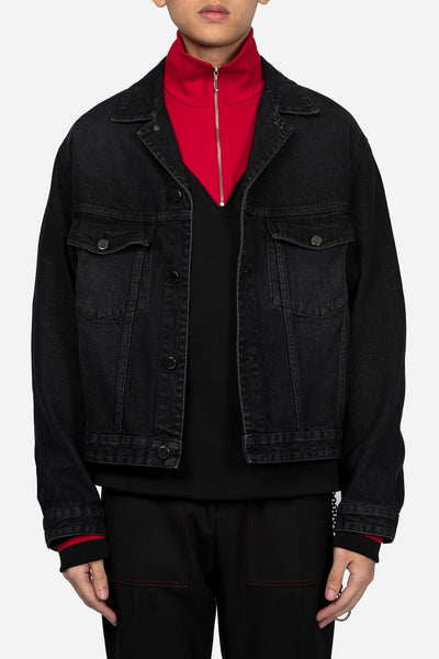 CMMN SWDN - Boxy Fit Denim Jacket Black