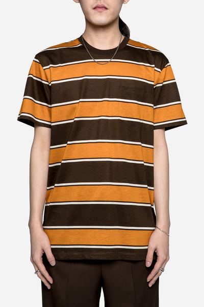AMI - Stripes Crew Neck Tee Brown/Orange
