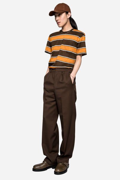 Stripes Crew Neck Tee Brown/Orange