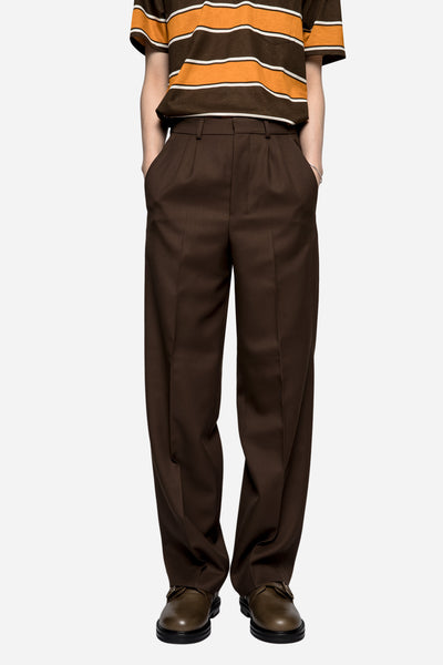 AMI - Suit Wool Twill Wide Trousers Brown