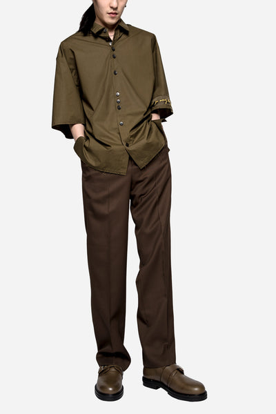 Suit Wool Twill Wide Trousers Brown