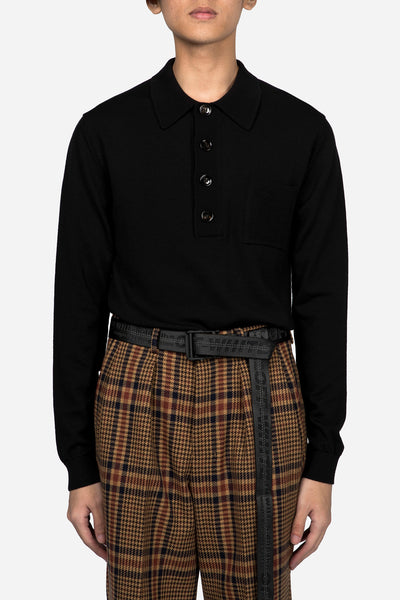 CMMN SWDN - Knitted Polo Jumper Black