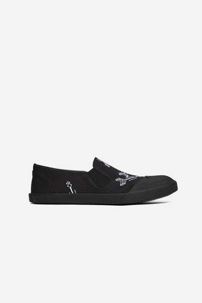 Lanvin - Slip On Embroideried Canvas Black