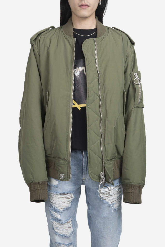 Nylon Bomber Jacket Military Green